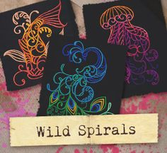 Satin stitch swirls and curls intersect in a menagerie of exotic animals, ready to adorn your apparel, decor, and more!