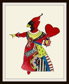 Alice in Wonderland Parody, Anthropomorphic Red Bird, Art Print 8 x 10 Poster on Etsy, $9.98