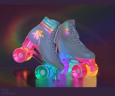 Light up vintage style rollerskates Cute Shoes, Me Too Shoes, 80s Shoes, Unique Shoes, Mode Kawaii, Kawaii Shoes, Kawaii Clothes, Fashion Shoes, Fashion Outfits