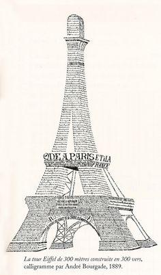 """Calligramme : """"La Tour Eiffel de 300 mètres construite en 300 vers"""", par André Bourgade, 1889."""