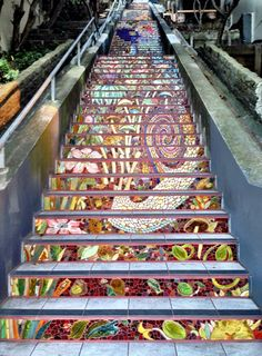 Street Art Mosaic Staircase in Inner Sunset, San Francisco, USA Mosaic Stairs, Mosaic Walkway, Tiled Staircase, Glass Stairs, Mosaic Art, Mosaic Glass, Stained Glass, Tile Steps, Hidden Garden