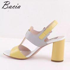 b20868a44d1 Bacia Mujer Sandalias de cuero genuino mujeres talón sandalias Gril colores  mezclados Zapatos Sandalias niñas Floral