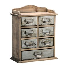 Fir Wood and Metal Small 7 Drawer Chest