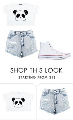 """""""cute panda"""" by thenerdyfairy on Polyvore featuring Boohoo and Converse"""
