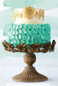 Turquoise Petals & Gold Leaf Two Tiered Cake