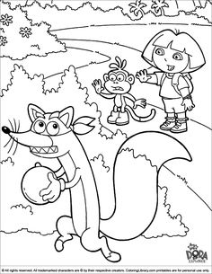Cool Coloring Pages, Cartoon Coloring Pages, Printable Coloring Pages, Coloring Books, Dora Coloring, Coloring Pages For Kids, Adult Coloring, Dora Map, Dora The Explorer