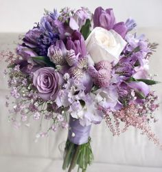 Prettiest spring wedding ideas---Laven / purple roses lilies tulips thistles wedding bouquets for a outdoor fresh wedding reception and ceremony. Purple Wedding Bouquets, Bride Bouquets, Bridal Flowers, Flower Bouquet Wedding, Wedding Bridesmaids, Purple Flowers, Floral Wedding, Boquette Wedding, Purple Wedding Flower Arrangements