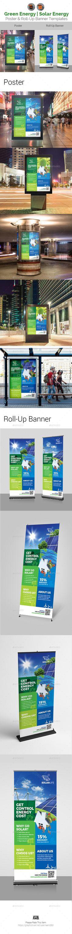 Solar Energy Poster & Roll-Up Banner - Signage Print Templates Portfolio Website Design, Portfolio Layout, Rollup Banner, Illustrator Cs5, Background Templates, Banner Template, Print Templates, Solar Energy, Banner Design
