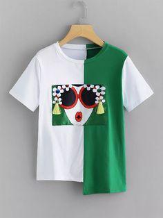 Shop Plus Fringe Detail Asymmetric Hem T-shirt online. SHEIN offers Plus Fringe Detail Asymmetric Hem T-shirt & more to fit your fashionable needs. Paint Shirts, Latest T Shirt, Plus Size T Shirts, T Shirts For Women, Clothes For Women, Tee Shirts, Mens Tops, Fashion Women, Fashion Ideas