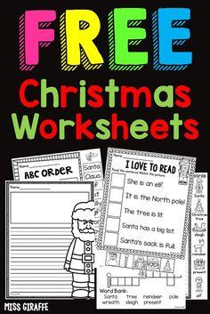 Christmas Worksheets Kindergarten, First Grade Worksheets, First Grade Activities, Kindergarten Lessons, Kindergarten Writing, Writing Activities, Christmas Activities, Free Printable Christmas Worksheets, Kindergarten Classroom