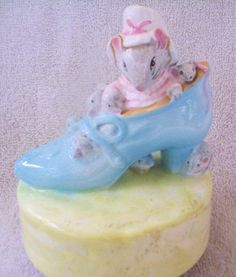"""Beatrix Potter Schmid Music Box, Old Woman in Shoe, 1978, Plays """"Getting to Know You"""""""