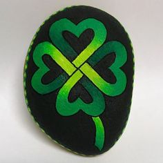 Clover Celtic Shamrock painted rock
