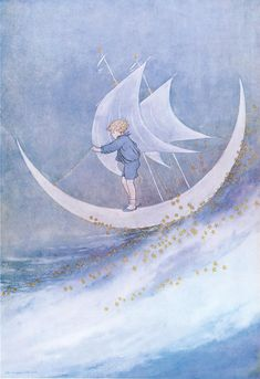 Illustration by Ida Rentoul Outhwaite  baby's boats the silvery moon, sailing across the sky. Sailing over the sea of sleep, while the clouds pass by.sail baby sail, out upon the sea. only dont forget to sail back again to me. memorized for  derick, who is now 33.