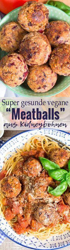 """Diese veganen """"Meatballs"""" aus Kidneybohnen und Sonnenblumenkernen sind nicht nur sehr schnell zubereitet, sondern sie sind auch super gesund und sooo lecker! Eines meiner Lieblingsgerichte. Mehr vegetarische Rezepte findet ihr auf veganheaven.de"""