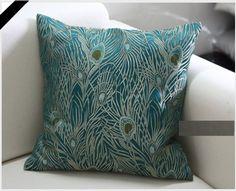 "Amazon.com - Sapphire Blue 18""x18"" Peacock Design - Elegant Decorative Throw Pillow Cover - Sofa Pillows"