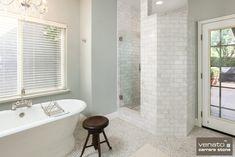 Venato Carrara - no edging on shower wall Subway Tile Kitchen, Small Bathroom Paint, Bathroom Ideas, Bathroom Signs, Bath Ideas, Shower Ideas, Shower Curb, Carrara Marble Bathroom