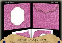 Cerise Beaded Fancy 7x7inch Easy Envelope Mini Kit on Craftsuprint - Add To Basket!