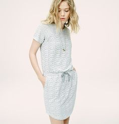 """This inherently breezy fabric is lined in an irresistibly soft jersey knit - so it feels as relaxed as your favorite tee. Crew neck. Short sleeves. Drawstring waist. Shirttail hem. Lined. 18"""" from natural waist. <i>Welcome to Lou & Grey, a line of easygoing styles for everyday.</i>"""