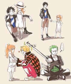 One Piece, Strawhat Pirates, Nami, Luffy, Sanji, Zoro