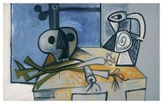 Picasso - Still Life with Death's Head, Leeks, and Pitcher before a Window 1945 Oil on canvas 30 x 46 inches
