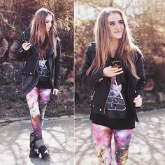 Galaxy Cat T Shirt, Faux Leather Jacket, Galaxy Leggings, Studded Biker Boots, Studded Cross I Phone Case