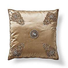 Silk Persian Jeweled Throw Pillow