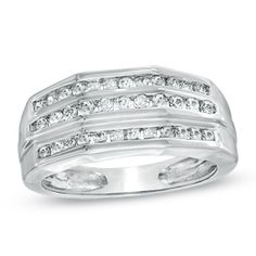 tw oval diamond three stone engagement ring in 14k white gold - Zales Mens Wedding Rings