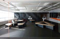 Hanyang University Fabrication Lab with rhythmic metal boxes. Korea