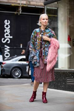 On the street at #LFW. #streetstyle #patent #mixedprints