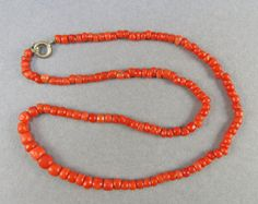 Old Natural Coral Neaklace Pale Red Coral Beads Natural Colur Mediterranean Coral Jewelry Vintage Jewelry