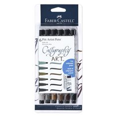 Contains 6 Faber-Castell Pitt Artist Pens that feature 2.5 mm chisel-edge nibs that are available in warm grey III, warm grey IV, raw umber, nougat, dark sepia and black. Best Calligraphy Pens, Calligraphy For Beginners, Pitt Artist Pens, Pen Brands, Art And Craft Materials, Writing Pens, India Ink, Pitta, Urban Sketching