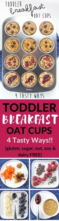 These allergy-friendly Toddler Breakfast Oat Cups are about to make your crazy mornings a whole lot easier (and more delicious)! They are made with wholesome ingredients such as oats bananas coconut oil and maple syrup and are refined sugar-free dairy- Free Breakfast, Breakfast Recipes, Breakfast Muffins, Breakfast Healthy, Breakfast Casserole, Breakfast Toast, Toddler Breakfast Ideas, Oat Muffins, Health Breakfast