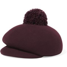 Eugenia Kim Ogden feather-embellished wool-felt cap (83 KWD) ❤ liked on Polyvore featuring accessories, hats, burgundy, cap hats, eugenia kim hats, woollen caps, wool brim hat and felt cap