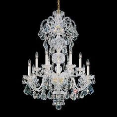 Schonbek French Gold Maria Theresa 8 Light Wide Crystal Chandelier with Clear Swarovski Heritage Crystals Rectangle Chandelier, Globe Chandelier, 5 Light Chandelier, Chandelier Shades, Lantern Pendant, Crystal Chandeliers, Home Living, Decoration, Designer