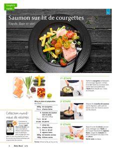 Shortcut - Saumon sur lit de courgettes Olives, Zucchini, Cantaloupe, Fruit, Food, Salmon, Kitchens, Carne Asada, Health