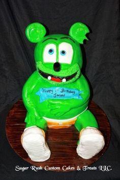 Gummy Bear Cakes, Gummy Bears, Sugar Rush, Custom Cakes, Yoshi, Happy Birthday, Treats, Personalized Cakes, Happy Brithday