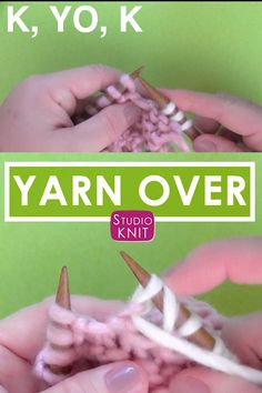 Knit a Yarn Over After a Purl Stitch : Watch an up-close Yarn Over slowly by Studio Knit. When your pattern has the Purl stitch before your Yarn Over, then a Knit stitch: P, YO, K. Remember, your yarn will be wrapping counter-clockwise for Yarn Overs. Knitting Basics, Knitting Help, Knitting Stiches, Knitting Videos, Easy Knitting, Loom Knitting, Knitting Needles, Knitting Patterns, Knit Stitches