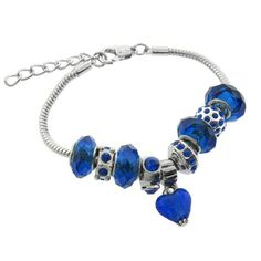 Blue Murano Style Glass Beads and Charm Bracelet, 7.5+1″ Extender