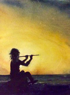 Fluitist bij zonsondergang. Made by Els van der Lugt