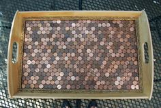 Find instructions on a fun diy project: revamping the Ikea KLACK tray into a unique copper penny serving tray or sisal rope serving tray. Home Crafts, Diy Home Decor, Diy Crafts, Resin Crafts, Ikea Hacks, Coin Art, Ikea Furniture, Mosaic Furniture, Recycled Furniture