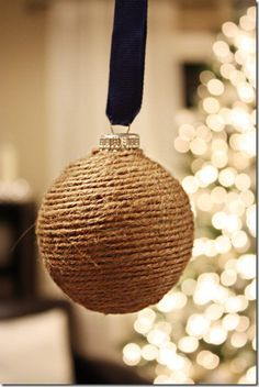 DIY twine wrapped tree ornaments!