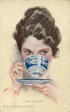 """Over the Teacup"" Harrison Fisher illustration"