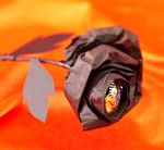 Black rose with a candy center.  Made for Creepy Crafts teen halloween craft program.