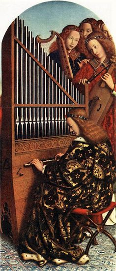 Jan van Eyck Angels Making Music from the Ghent Altarpiece, 1426-1427