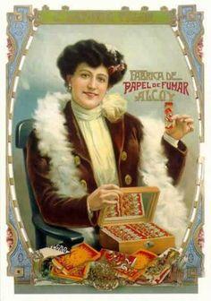 "CPM,PUB espagnole, Fabrica de Papel de Fumar Alcoy, femme, papier a cigarettes "" Vintage Ephemera, Vintage Ads, Vintage Posters, Tobacco Industry, Poster S, Collector Cards, Advertising Poster, Vintage Advertisements, Victorian"