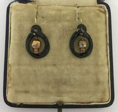 An-Unusual-Pair-Of-Memento-Mori-Skull-amp-Snake-Diamond-amp-Enamel-Earrings-Cr-1800s