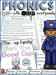 This –op word family pack will help your students practice reading –op word family words and key sight words. The interactive print-n-go sheets, reading booklet, -op word family wheel, fluency readers, –op word family house, and editable reading words Power Point file will help to not just build phonics and phonemic awareness skills, but will also target key vocabulary, spelling, and comprehension skills.