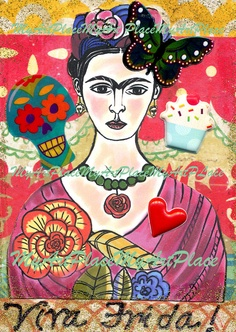 Frida Kahlo Art Original ACEO Collage Viva Frida by MyArtPlace, $9.50