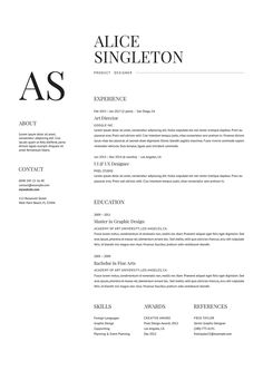 A classy, minimalist resume template with unique, readable fonts. Available in Word, Photoshop, InDesign, and Illustrator formats. A4 and US Letter sizes included.