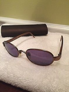 CHANEL Very Rare Vintage Authentic Oval Metal Rim Bronze Womens Sunglasses EXC